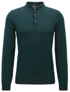 Hugo Boss Slim-Fit Merino Wool Long-Sleeve Polo Shirt